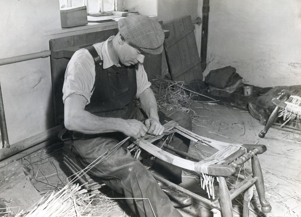 Old Kirk Mill, Berry's Chairworks, Rushbottoming, 1940s