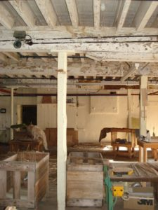 Old Kirk Mill - From middle of room view towards wheel chamber, 2010