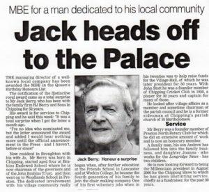 Jack Berry MBE, newspaper article