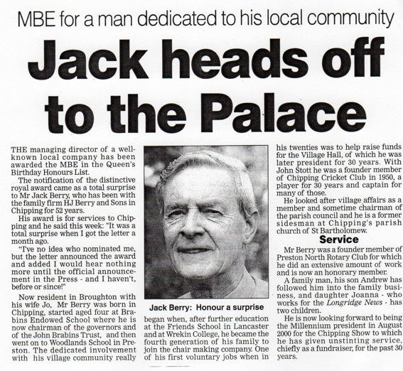 Jack Berry MBE, newspaper article
