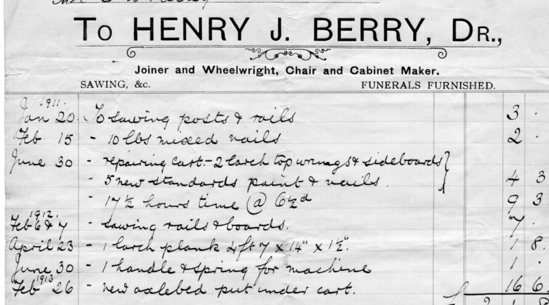 HJ Berry invoice 1913