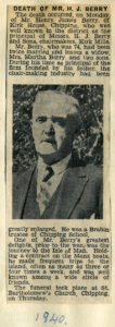 Death of Mr H J Berry Aug 26th 1940